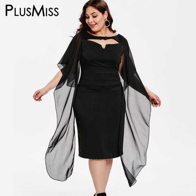PlusMiss Plus Size XXXXXL Elegant Chiffon Shawl Party Dresses Women  Clothing Robe Femme XXXXL XXXL XXL Black Big Size Midi Dress