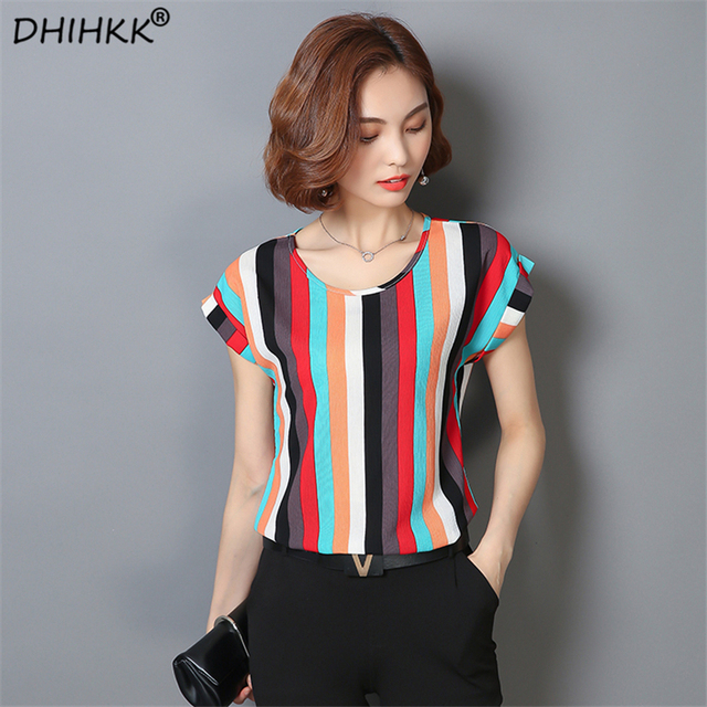 c1379b141c7 DHIHKK 2018 Summer Striped Print Chiffon Blouse O-neck Shirts Short Sleeve  Chiffon Tops Plus