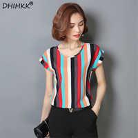 DHIHKK 2018 blusa de gasa con estampado de rayas con cuello redondo de verano Camisetas de gasa de manga corta Tallas grandes M-4XL Blusas femeninas