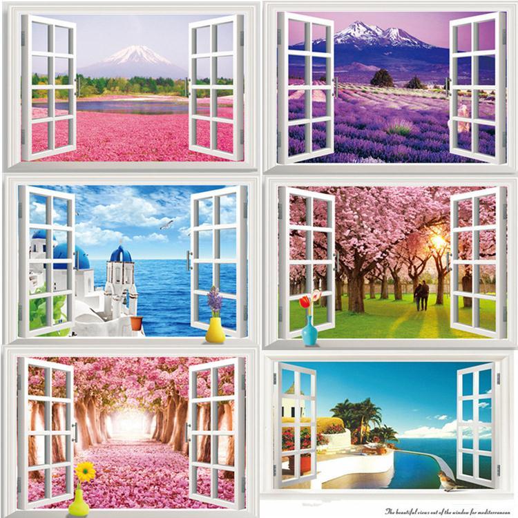 Горячая 6 видов поддельные окна Сад Стиль 3D наклейки гостиная, спальня украшения фон наклейки обои