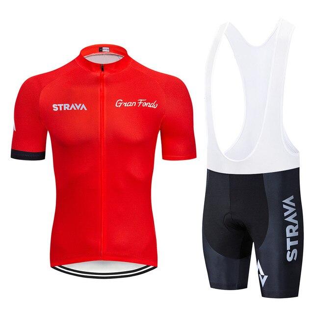 2019 STRAVA kırmızı Bisiklet Jersey Seti roupa ciclismo ropa bisikletçi giysisi hombre Nefes ropa ciclismo Bisiklet Giyim Bisiklet Set