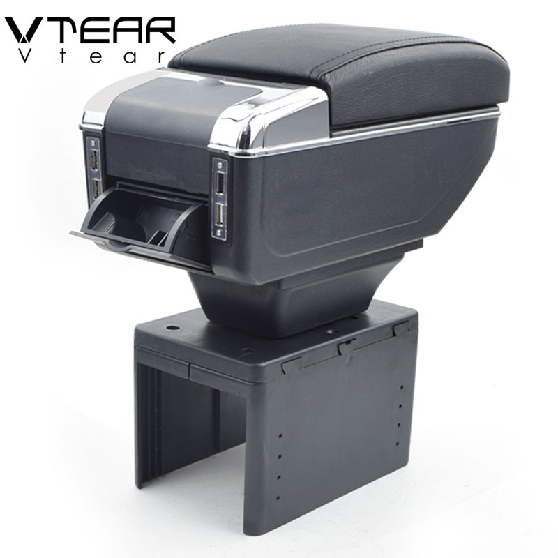 Vtear For dacia Renault Megane twingo armrest box USB Charging heighten Double layer central content holder