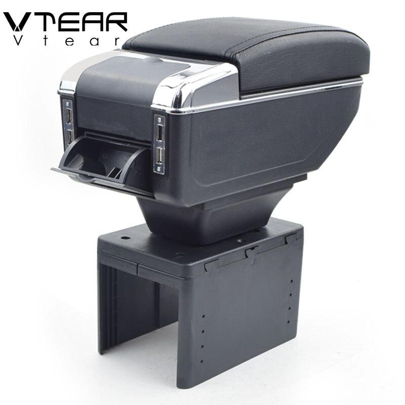 Vtear Per dacia Renault Megane/twingo bracciolo box di Ricarica USB intensificare Doppio strato centrale contenuto titolare posacenere accessori