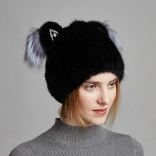 Winter New Style High Quality Natural Mink Fur Cap For Women Vertical Weaving Hat Lovely Cat Ears With Fox Hats