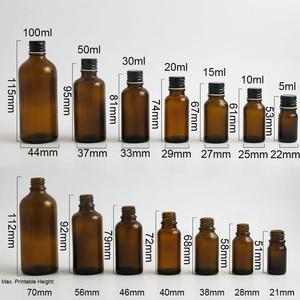 Image 2 - 200 x 5ml 10ml 15ml 20ml 30ml 50ml 100ml Amber Boston Round Glass Essential oil Bottle With Black Silver Lids PE insert