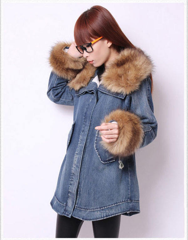 2014 Winter Women'S Long Thick Warm Denim Cotton Padded Jacket Rabbit Fur Collar And Sleeve Lamb'S Wool Hooded Denim Coat H2923 free shipping 2015 cotton padded jacket men s nick coat cotton padded jacket wool liner thick warm cotton denim outerwear