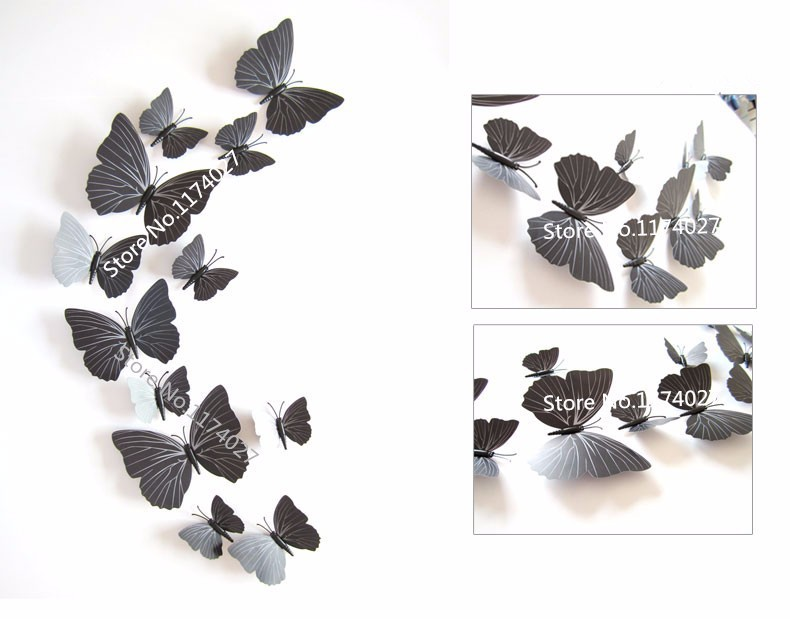 12 pcs lot pvc 3d diy butterfly wall stickers home decor for 3d wall butterfly decoration