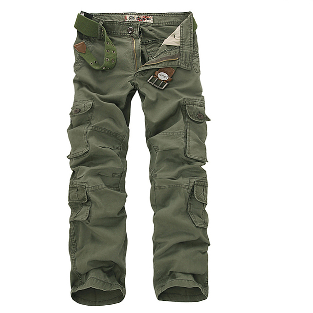 e5d9d3c9fa79 2018 Mens Military Cargo Pants Multi-pockets Baggy Men Cotton Pants Casual  Overalls Army Oustdoor
