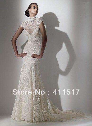 Wedding Dress Whiteivory Bridal Gownsturtle Neck Short Sleeved