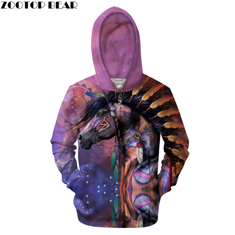 Eagle and Horse Printed Zipper Hoodies 3D Men Women Band Streetwear Hooded Pullover 6XL Sweatshirts Tracksuits Coat drop shippin