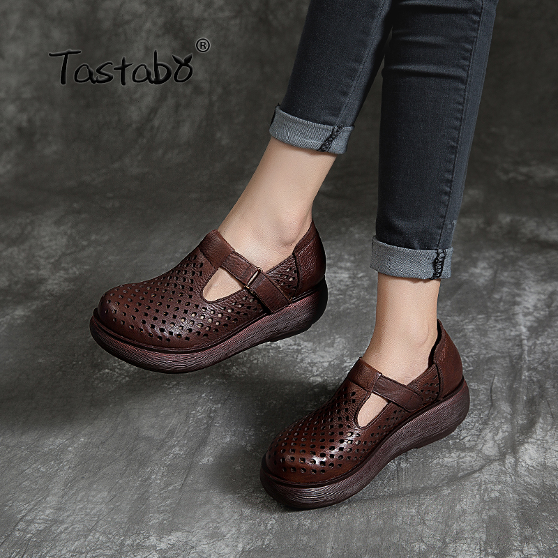 Tastabo Wedges Ladies Shoes Leather Material Shoes 2019 Hollow Style Shoes Comfortable Leather Lining Simple Casual Shoes