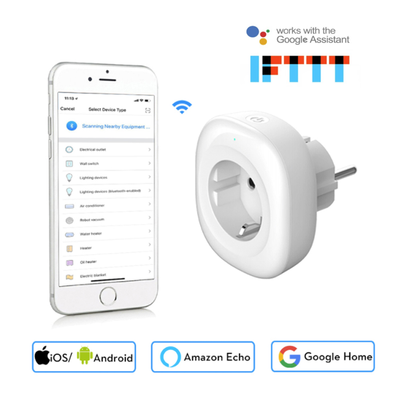 Newest Mini Wifi Smart Socket EU Power Plug Mobile APP Remote Control Energy Monitor Works with Amazon Alexa Google Home smart eu plug wifi mini alexa socket 16a app control power timer switch voice control works with alexa google home and ifttt