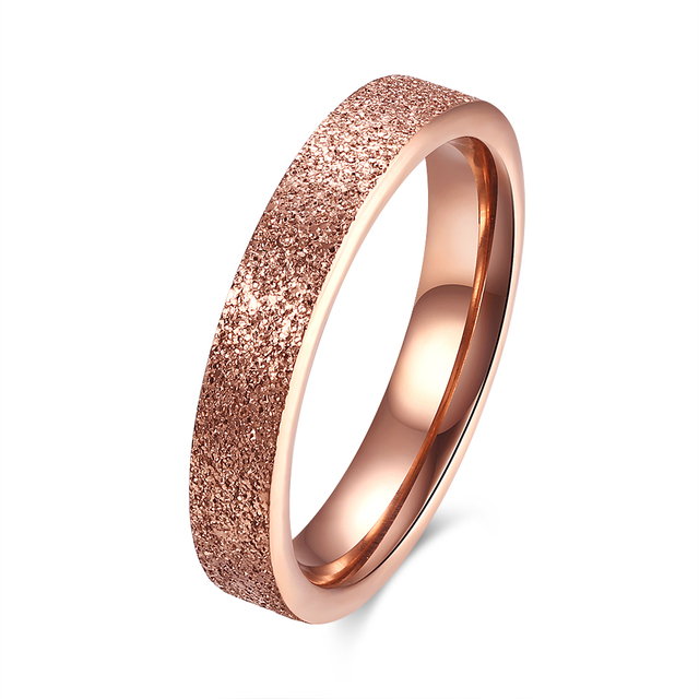 2017 Fashion Anium Steel Rose Gold Color Ring Alliance Frosting Cool Wedding Band Rings Female