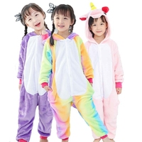 Boy Girl Pajamas Unicorn Children Pajamas Set Unisex Flannel Kids Blue Pink Pajama Unicorn Animal Sleepwear