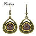 Fanhua joyería de la vendimia 2016 cuelga los pendientes étnicos antiguos de oro colorido esmalte geométrica pendientes regalo de las mujeres al por mayor