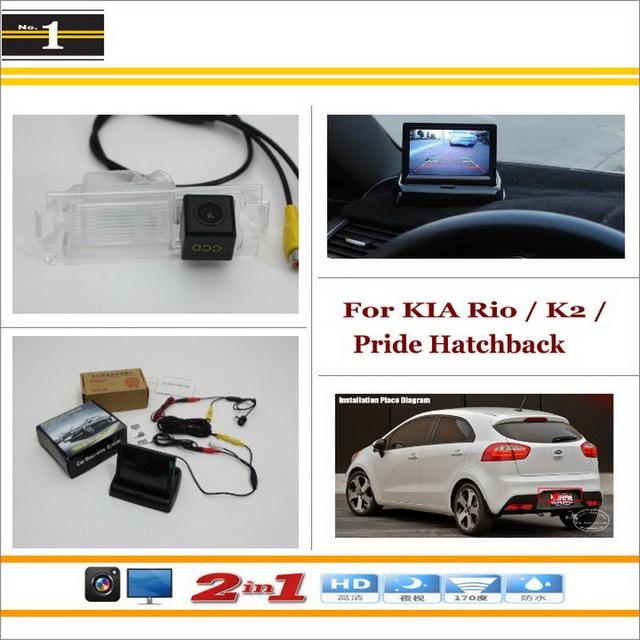"""Auto Câmera de Visão Traseira Backup + 4.3 """"Monitor LCD = 2 em 1 Sistema de Assistência de Estacionamento-Para KIA Rio/K2/Pride Hatchback"""