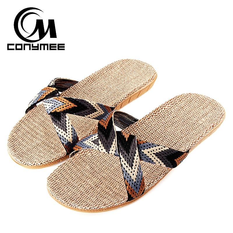 CONYMEE Flax Slippers 2018 Summer Men Shoes Linen Indoor Slipper Men Casual Sneakers For Home Zapatos Hombre Sandals Flip Flops