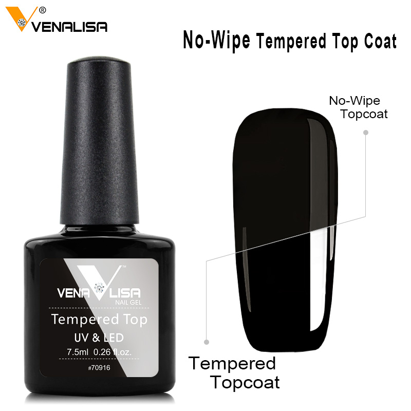 Tempered Glass Nail Topcoat VENALISA Nail Art Manicure Super Glossy No Wipe Reinforce Cover UV Gel Polish Toughened Hard Top Gel