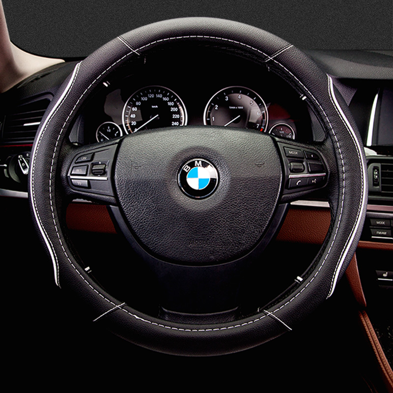 The new four seasons car steering wheel cover leather black yellow brown four seasons universal cute sports men and women set