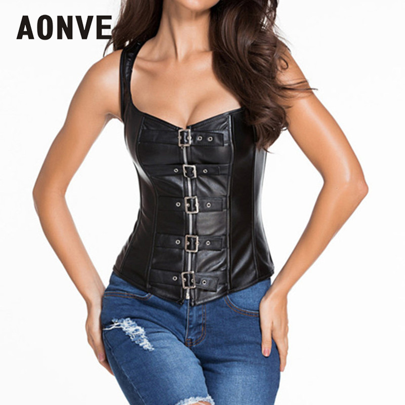 AONVE Steampunk   Corset   Faux Leather   Corsets   Steel Bones   Bustiers   Gothic Black Sexy Overbust   Corset   Top Punk Goth Clothing S-6XL