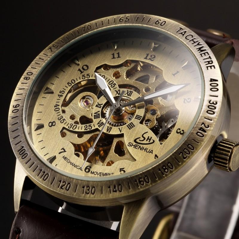 Prix pour Bronze Rétro Squelette Steampunk Automatique Montres montres Hommes En Cuir Auto-Vent Montre-Bracelet Mécanique Relogio Masculino