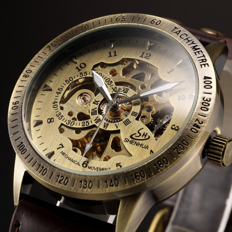 Bronze Retro Skeleton Steampunk Automatic Relojes watches Men Leather Self-Wind Mechanical WristWatch Relogio Masculino retro hollow skeleton automatic mechanical watches men s steampunk bronze leather brand unique self wind mechanical wristwatches