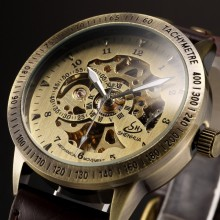 Bronze Retro Skeleton Steampunk Automatic Relojes watches Men Leather Self-Wind Mechanical WristWatch Relogio Masculino