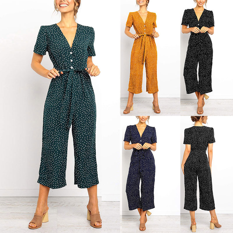 Fashion City Rompers Hot Women Lady Dot Printing V Neck Buttons Fashion   Jumpsuit   for Summer Beach Party HD88