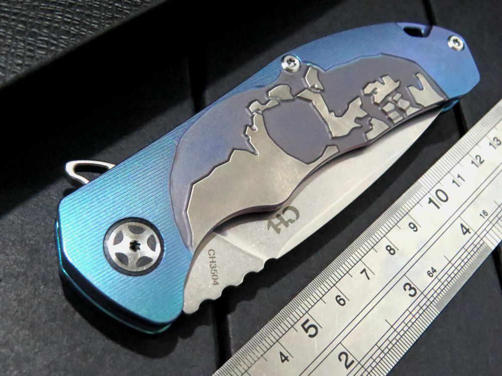 CH أدوات CH3504 سكين للفرد S35VN شفرة الرجعية النحاس سبائك التيتانيوم مقبض زعنفة التخييم بقاء سكاكين الجيب EDC أدوات