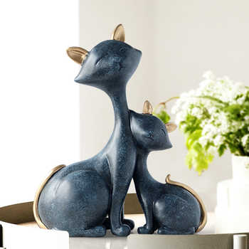 Resin Cat Figurines Miniatures Decorative Animals desktop gift cat statue ornaments home decoration casa living room accessories - DISCOUNT ITEM  33% OFF All Category