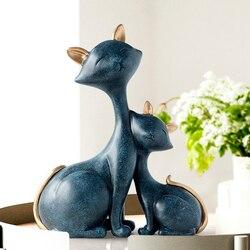 Resina figuritas de gatos miniaturas animales decorativos de escritorio regalo gato estatua ornamentos decoración del hogar casa accesorios de sala