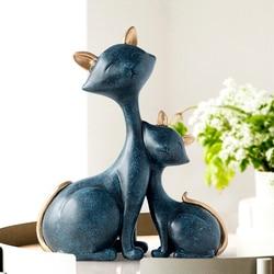 Resina gato estatuetas miniaturas decorativos animais presente desktop gato estátua ornamentos casa decoração sala de estar acessórios