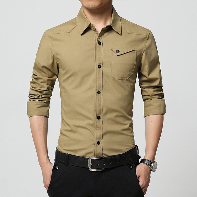 c7c9beaf037 Spring and Summer Mens Khaki Shirt Long Sleeve Washable Cotton Shirt Men  Slim Fit Army Military Style Casual Shirt Size M-4XL
