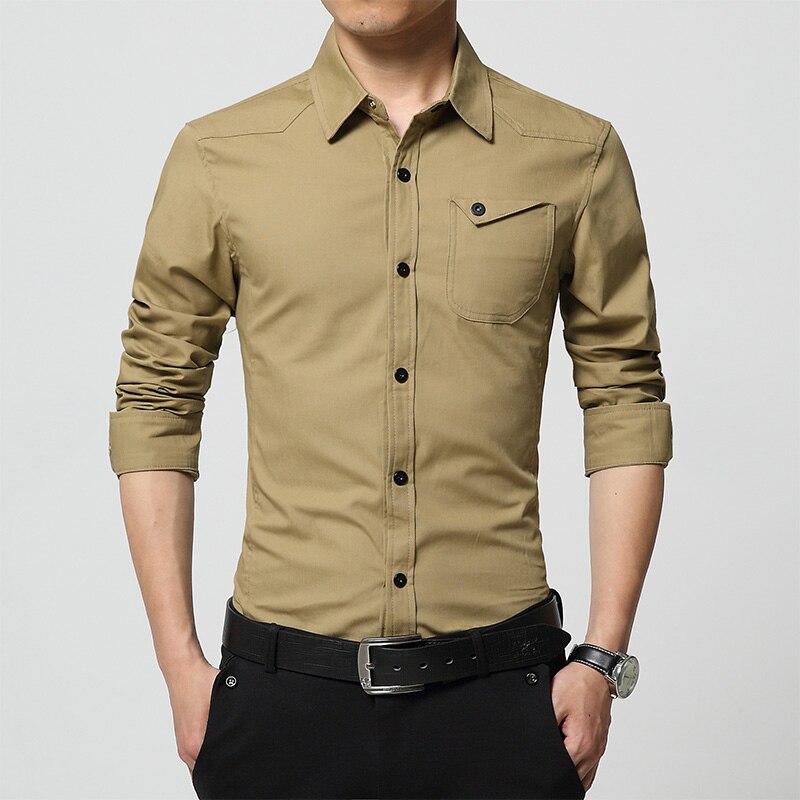 Popular military khaki shirt buy cheap military khaki for Mens military style long sleeve shirts
