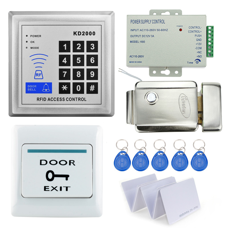 access control Rfid keypad code keypad with metal electric control lock+power supply +door exit button +keys support 3000 users rfid door access control system kit set with electric lock power supply doorbell door exit button 10 keys id card reader keypad