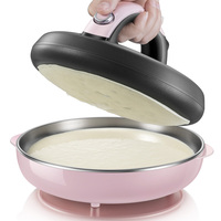 D,pink Automatic Nonstick stainless steel Crepe Makers mini Pancake machine Household electric baking pan with Metal stent A06D1