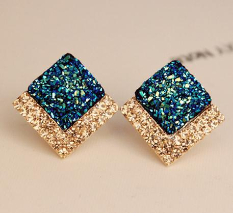 Square Earrings Dazzle Blue Milk White Ear Clip Las Wedding Memorial Free Shipping H159 In Stud From Jewelry Accessories On Aliexpress