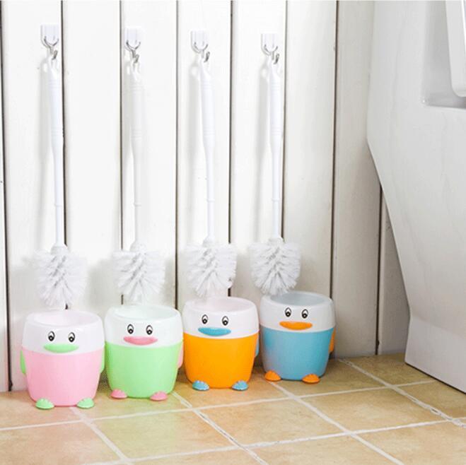 Cute Toilet Long Handle Brush + Holder Bathroom Hygiene ABS Toilet Cleaning Brush Washroom Brush Household Cleaning Brush Set