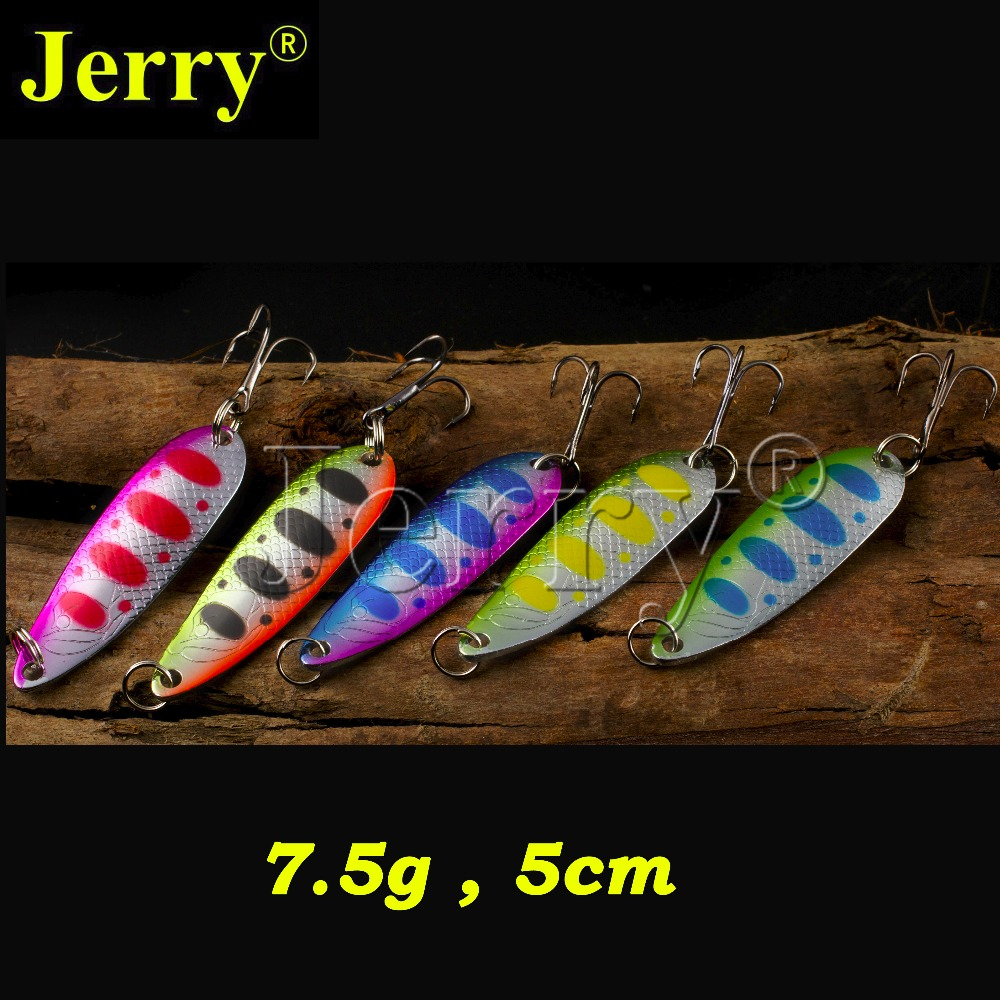 Jerry 5pcs 7.5g trout pike salmon zander metal bait sharp hook high quality flutter fishing spoon lure