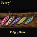 Jerry 5pcs 7.5g trout pike salmon zander metal bait sharp hook high quality flutter fishing spoon lure