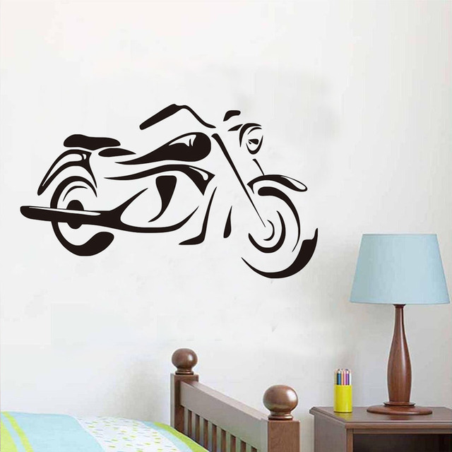 Free shipping vintage motorcycle wall stickers cool design diy adhesive waterproof vinyl art mural home decor