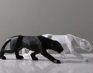 Image 4 - מודרני מופשט שחור פנתר פיסול גיאומטרי שרף נמר פסל חיות בר מתנת מלאכת קישוט אביזרי ריהוט