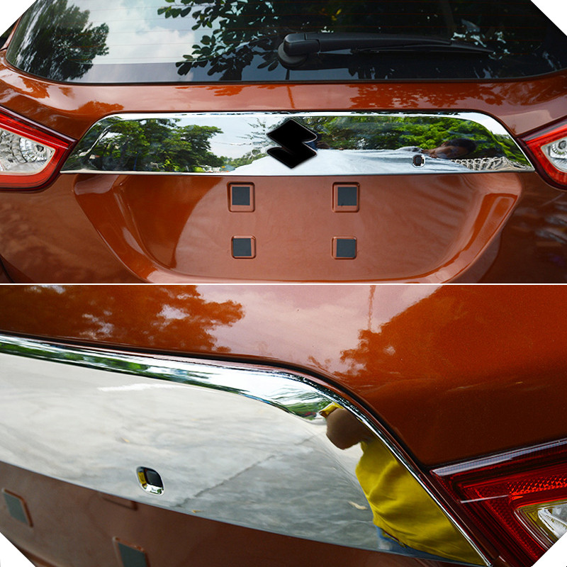 2014-2018 For Suzuki SX4 S-Cross ABS Chrome Rear Trunk Trim Cover Molding trim car Styling Accessories 1pcs car auto accessories rear trunk molding lid cover trim rear trunk trim for nissan sunny versa 2011 abs chrome 1pc per set