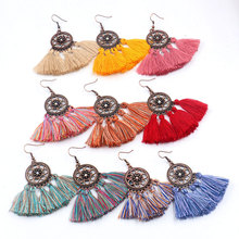 Multi Color Trendy Bohemia Vintage Flowers Geometric Round Hook Tassel Copper Alloy Hanging Drop Dangle Earrings for Women