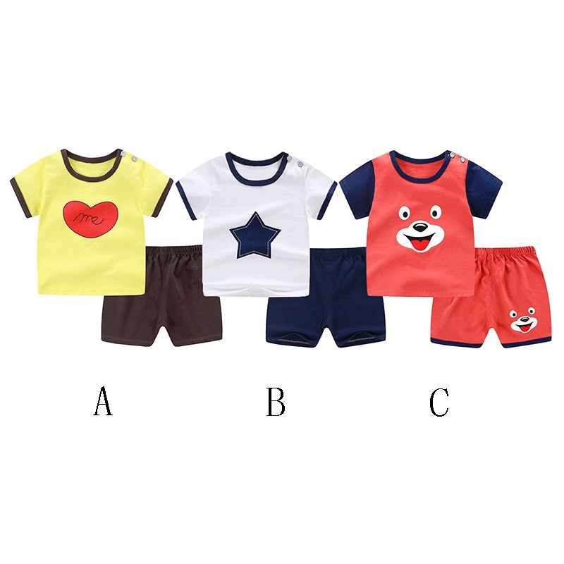 Kids Clothes Summer Baby Boys Girls Short Sleeve Striped Cartoon Print Tops T-shirt Shorts Toddler Casual Outfits Sets for 0-3T