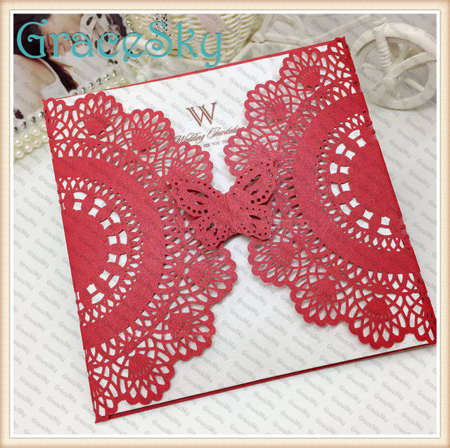 50xLaser Cut Hollow Out Wedding Party Invitation Card with Insert Paper Greeting Card Lace Flower Butterfly Design free shipping