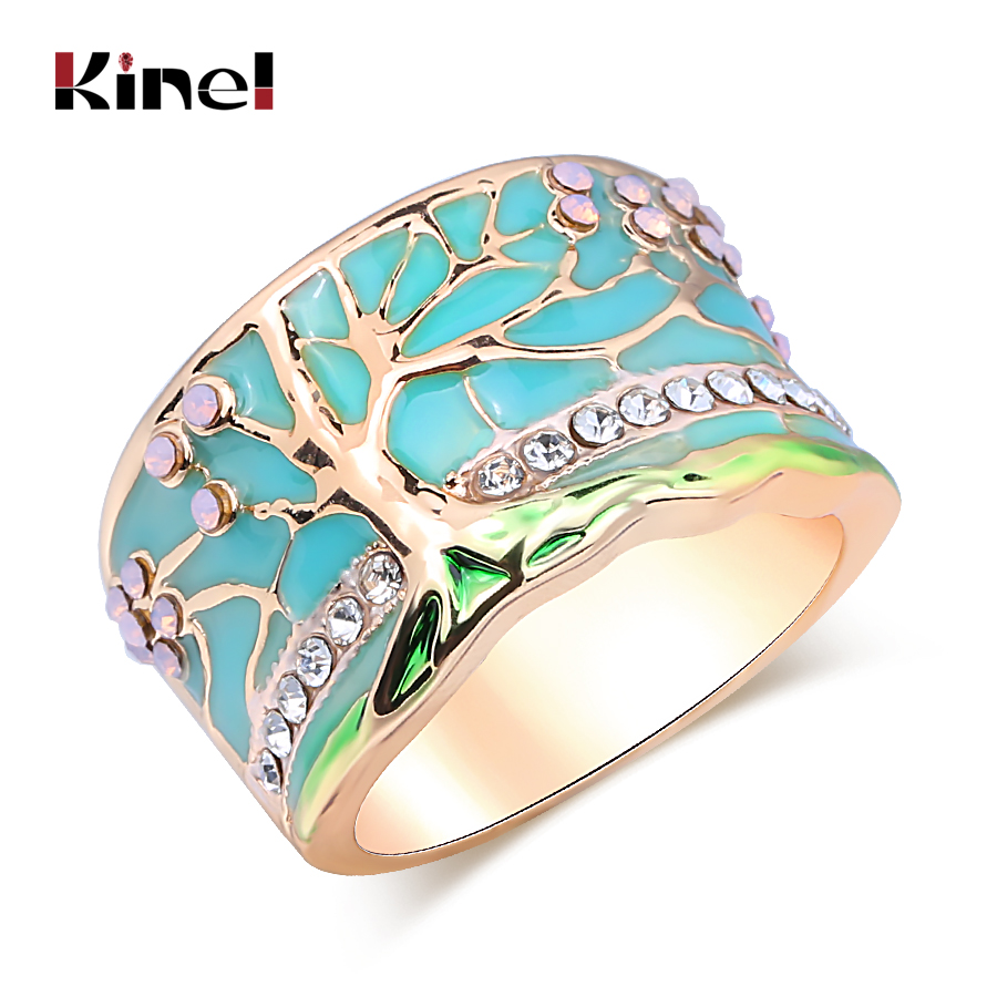 Kinel Hot Lucky Flower Tree Rings Fashion Gold Pink Opal Green Enamel Wide Ring For woman Party Crystal Vintage Jewelry 2019 New(China)