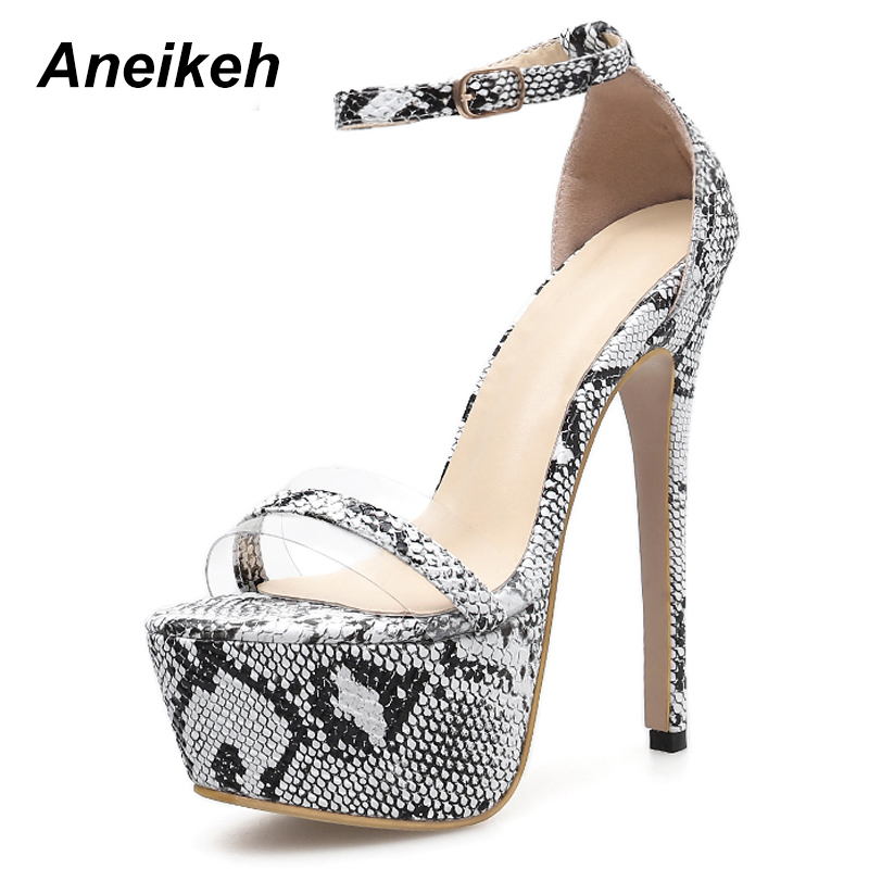 Aneikeh Women Sandals Shoes Sexy Snake Print Stiletto Super High Heels Summer Platform Ankle-strap Sandals Zapatos De Mujer