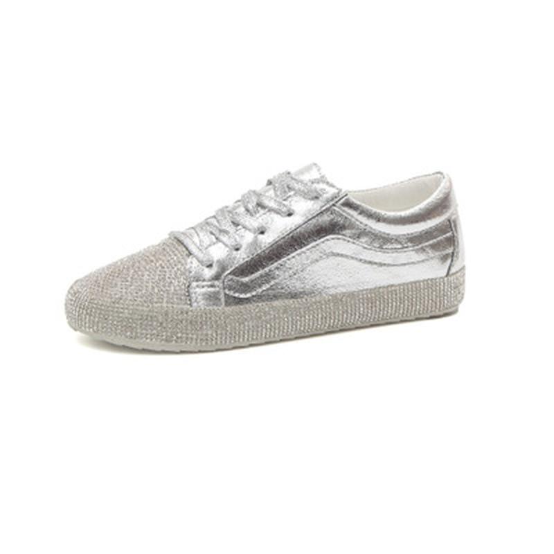Casual Moda Nuevo Mujer Planos Caros Zapatillas Zapatos 2018 Lace Pu Up Diamantes Black Mesh Silver 0TIwvv