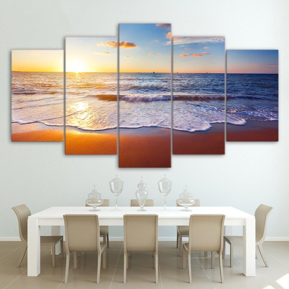 Wandkunst Poster Moderne Wohnkultur Wohnzimmer Schlafzimmer 5 Stücke Meer  Strand Sonnenuntergang Landschaft Leinwanddruck Modulare Bild Rahmen